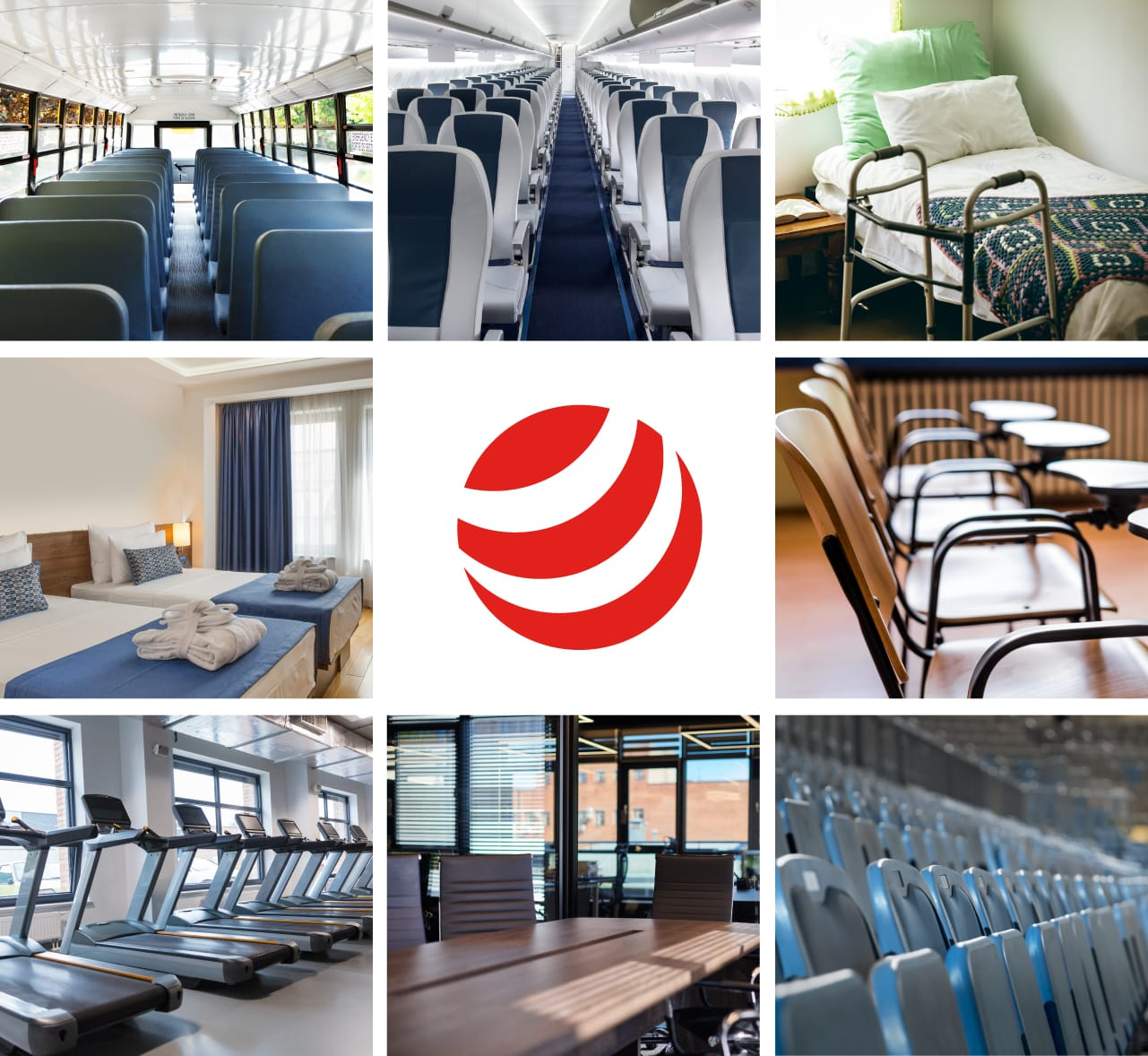 Product use images: kitchens, airplanes, nursing homes, hotel rooms, classrooms, gyms offices, stadiums